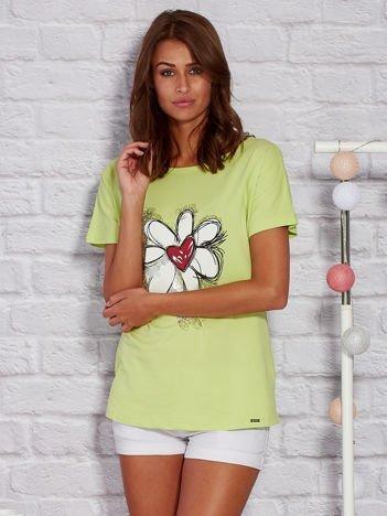 T-shirt damski z rysunkowym kwiatem limonkowy