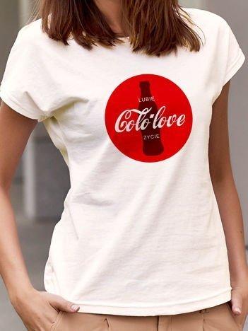 T-shirt damski z zabawnym nadrukiem Coca Cola ecru
