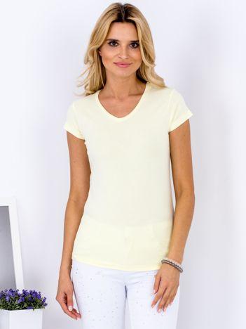 T-shirt damski żółty V-neck