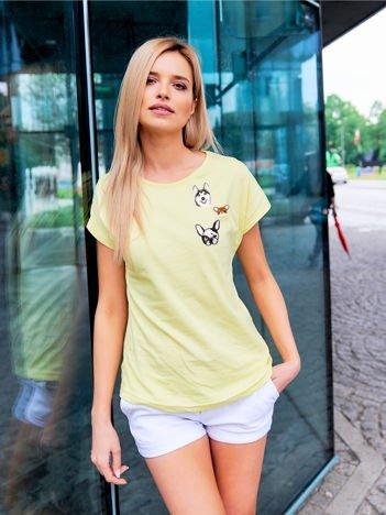 T-shirt damski żółty z naszywkami DOGS