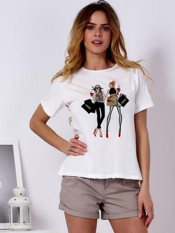 T-shirt ecru z kobiecą naszywką