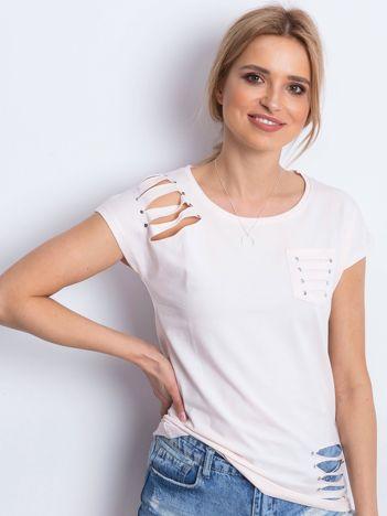 T-shirt jasnobrzoskwiniowy z rozcięciami