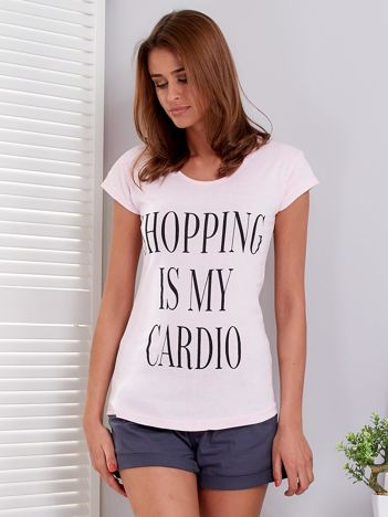 T-shirt jasnoróżowy SHOPPING IS MY CARDIO
