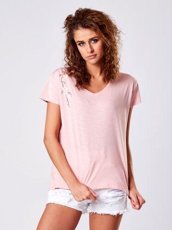 T-shirt jasnoróżowy z kwiatowym haftem