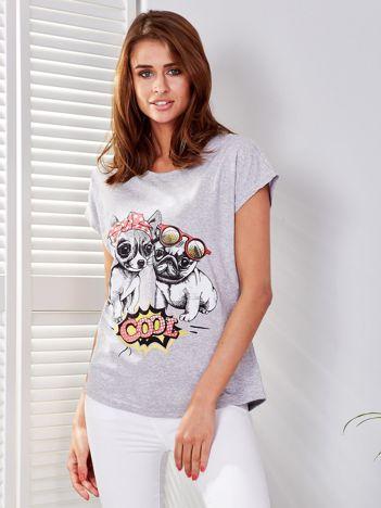 T-shirt jasnoszary z pieskami