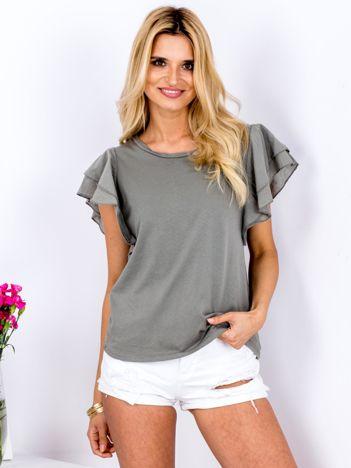 T-shirt khaki z warstwowymi falbanami