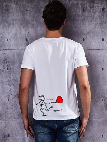 T-shirt męski I LOVE YOU na walentynki dla par biały