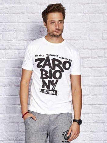 T-shirt męski NIE WIEM NIE ZNAM SIĘ NIE ORIENTUJĘ SIĘ ZAROBIONY JESTEM biały