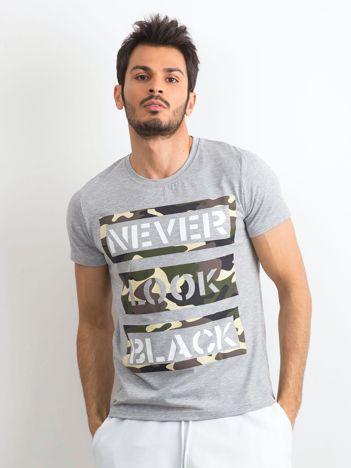 T-shirt męski bawełniany z nadrukiem szary