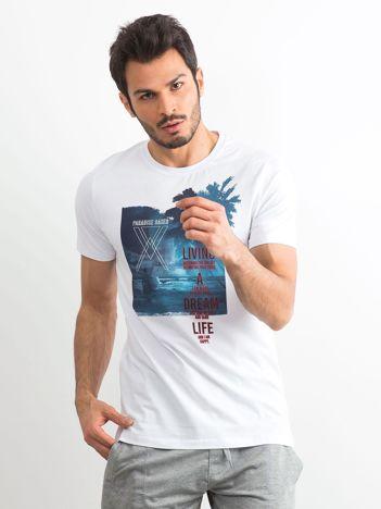 T-shirt męski bawełniany z printem biały