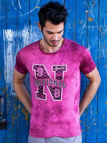 T-shirt męski bordowy z printem