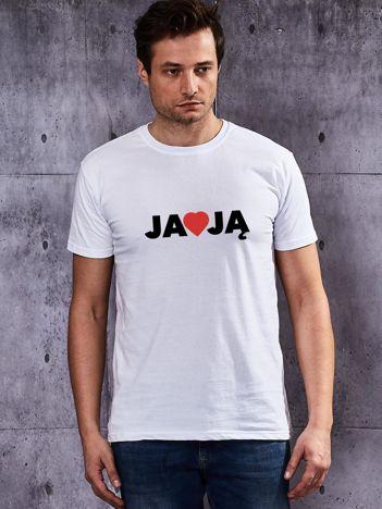 T-shirt męski dla par JA KOCHAM JĄ biały