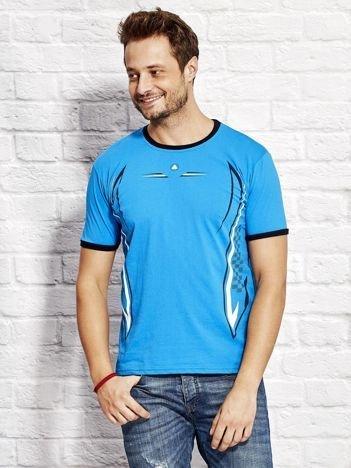 T-shirt męski z modelującym nadrukiem niebieski