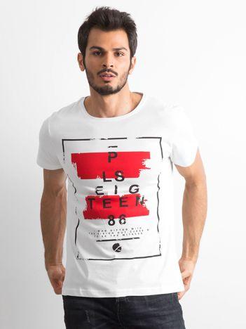 T-shirt męski z printem biały