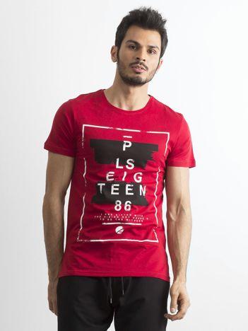 T-shirt męski z printem bordowy