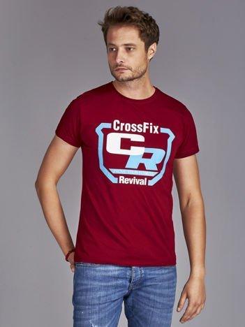 T-shirt męski ze sportowym nadrukiem bordowy
