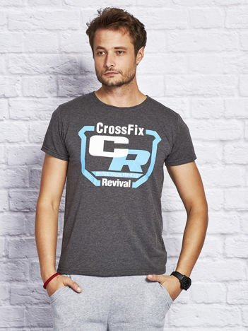 T-shirt męski ze sportowym nadrukiem ciemnoszary