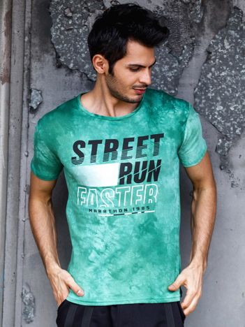T-shirt męski zielony Street Run