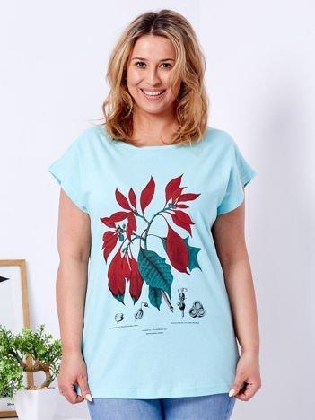 T-shirt miętowy z roślinnym printem PLUS SIZE