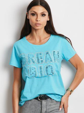 T-shirt niebieski z napisem cut out
