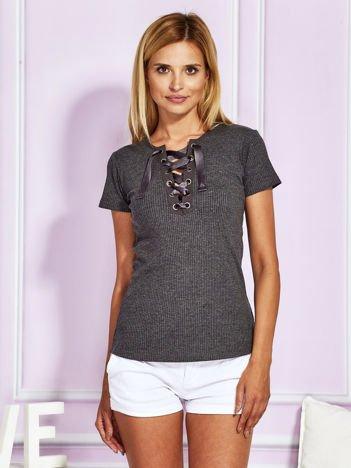 T-shirt prążkowany lace up ciemnoszary