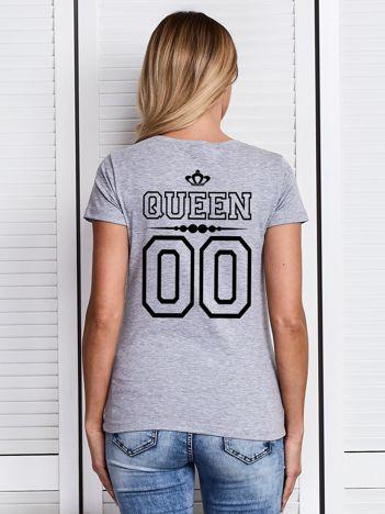T-shirt szary damski dla par z nadrukiem QUEEN z tyłu