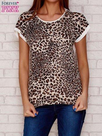 T-shirt w panterkę jasnobrązowy