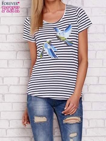 T-shirt w paski z naszywką ptaków granatowy