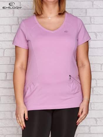 T-shirt z kieszonką jasnofioletowy PLUS SIZE