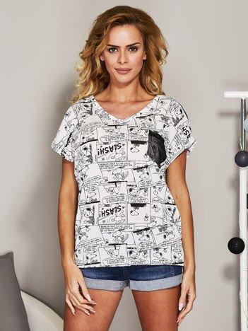 T-shirt z komiksowym printem biały
