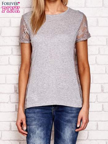 T-shirt z koronkowymi wstawkami szary