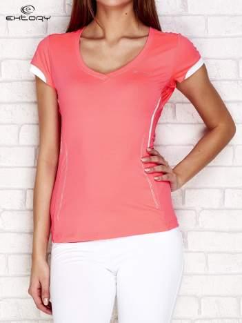 T-shirt z modelującymi przeszyciami różowy