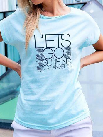 T-shirt z nadrukiem LET'S GO SURFING turkusowy