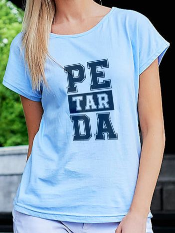 T-shirt z nadrukiem PETARDA niebieski