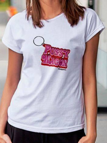 T-shirt z nadrukiem breloka biały