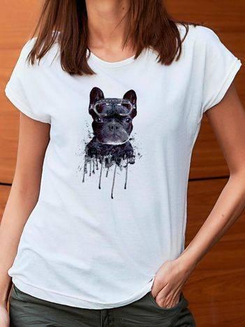 T-shirt z nadrukiem psa biały