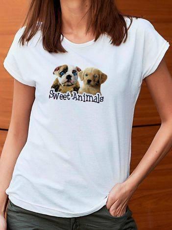 T-shirt z nadrukiem psów biały