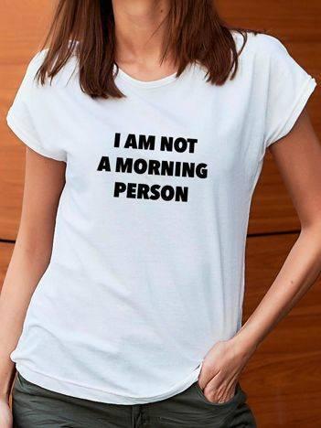 T-shirt z nadrukiem tekstowym biały
