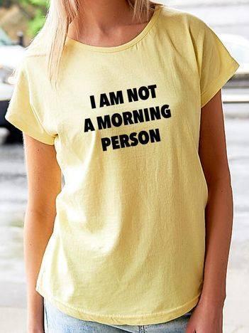 T-shirt z nadrukiem tekstowym żółty