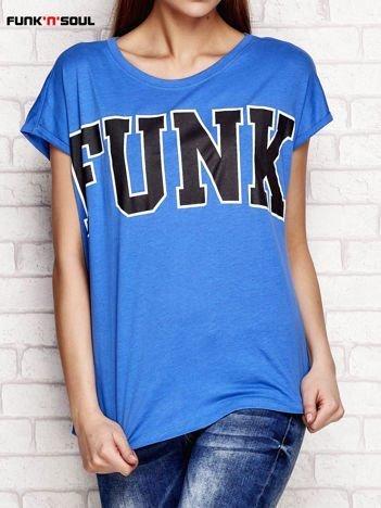 T-shirt z napisem FUNK niebieski FUNK N SOUL