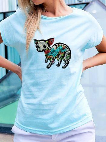 T-shirt z tatuażowym nadrukiem kota turkusowy