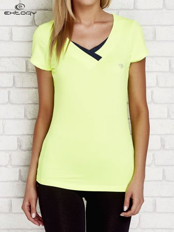 T-shirt z trójkątnym dekoltem jasnozielony