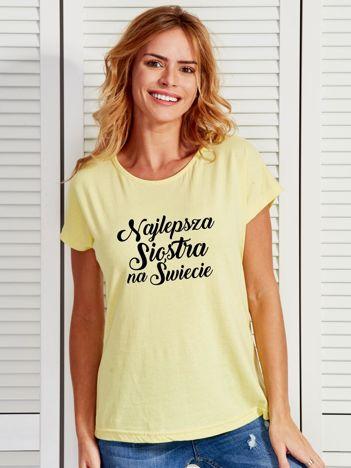 T-shirt żółty NAJLEPSZA SIOSTRA NA ŚWIECIE