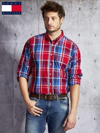 TOMMY HILFIGER Czerwona koszula męska w kratę