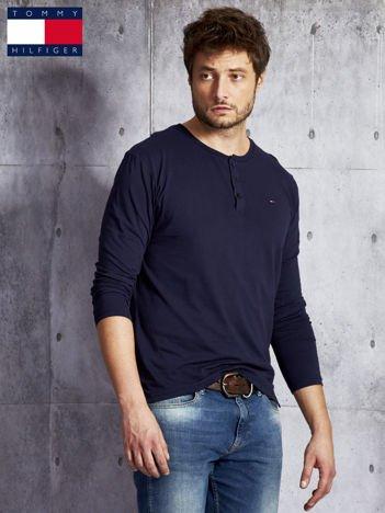 TOMMY HILFIGER Granatowa bluzka męska z guzikami