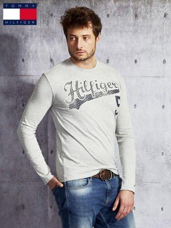 TOMMY HILFIGER Szara bluzka męska z  napisem