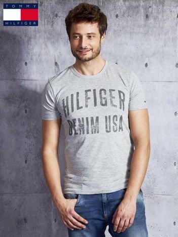 TOMMY HILFIGER Szary t-shirt męski z napisem