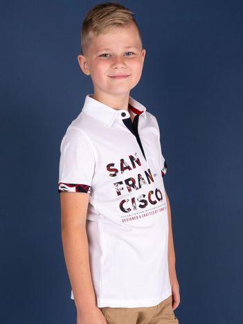 TOMMY LIFE Biała koszulka polo dla chłopca z nadrukiem
