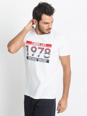 TOMMY LIFE Biały t-shirt męski