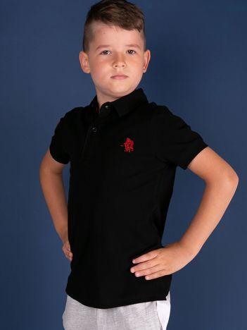 TOMMY LIFE Czarna bawełniana koszulka polo chłopięca